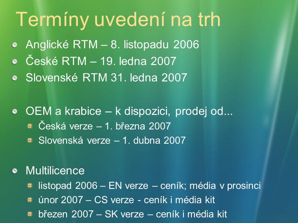Termíny uvedení na trh Anglické RTM – 8. listopadu 2006 České RTM – 19.