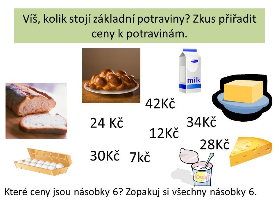 Víš, kolik stojí základní potraviny. Zkus přiřadit ceny k potravinám.