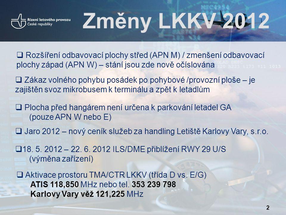  18. 5. 2012 – 22. 6. 2012 ILS/DME přiblížení RWY 29 U/S (výměna zařízení)  Plocha před hangárem není určena k parkování letadel GA (pouze APN W neb