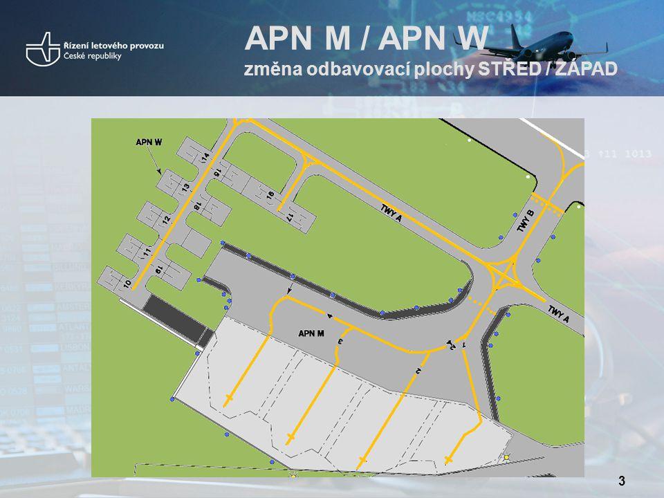 APN M / APN W změna odbavovací plochy STŘED / ZÁPAD 3