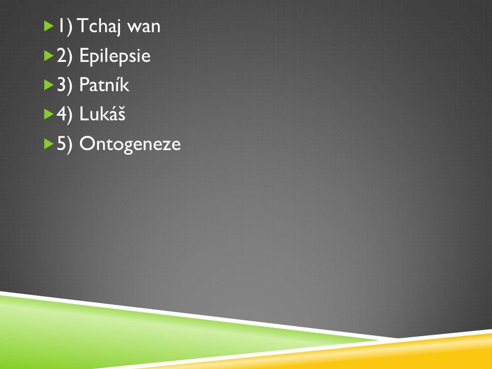  1) Tchaj wan  2) Epilepsie  3) Patník  4) Lukáš  5) Ontogeneze