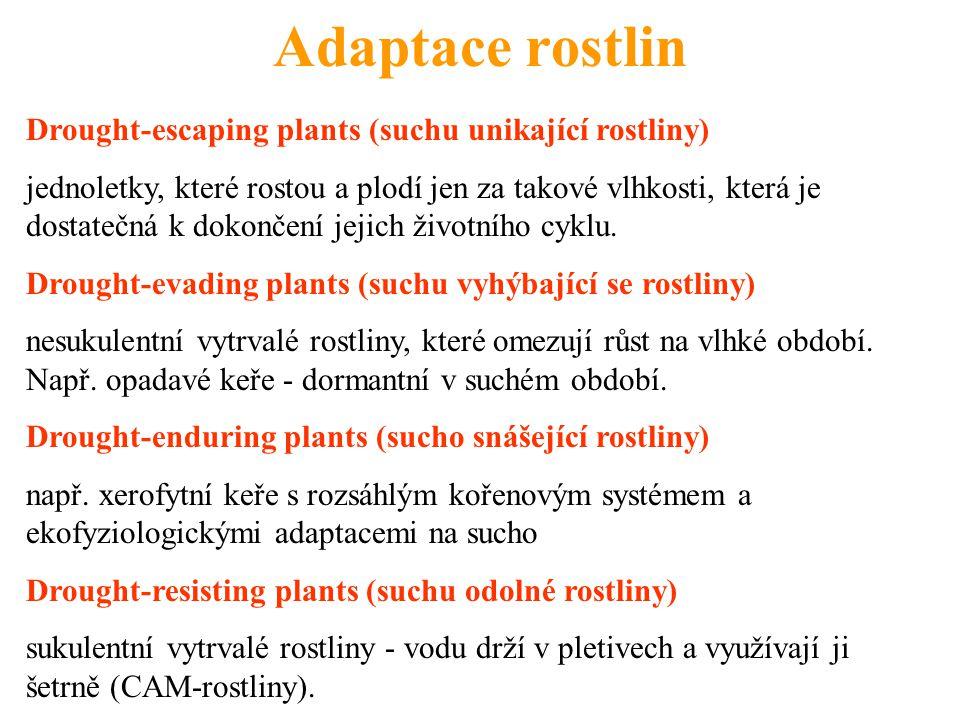 Adaptace rostlin Drought-escaping plants (suchu unikající rostliny) jednoletky, které rostou a plodí jen za takové vlhkosti, která je dostatečná k dok