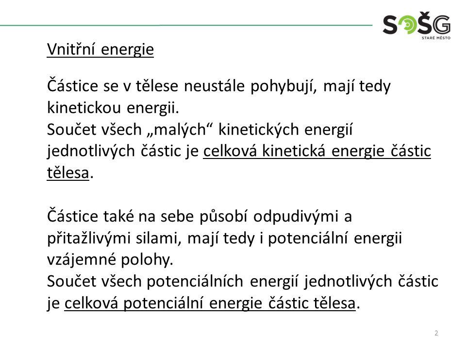 2 Vnitřní energie Částice se v tělese neustále pohybují, mají tedy kinetickou energii.