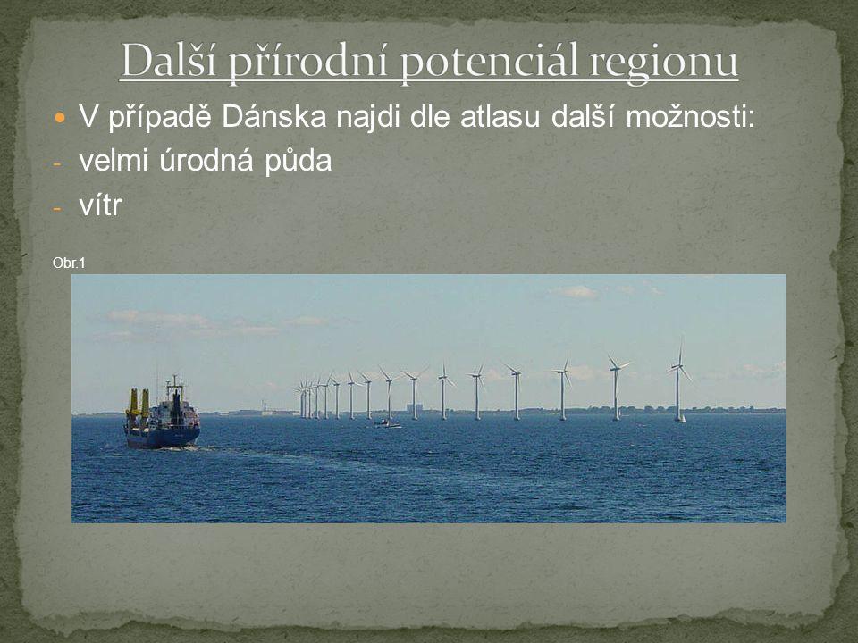 V případě Dánska najdi dle atlasu další možnosti: - velmi úrodná půda - vítr Obr.1