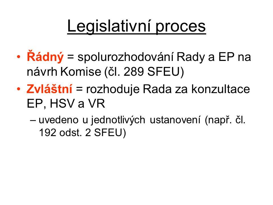 Legislativní proces Řádný = spolurozhodování Rady a EP na návrh Komise (čl.