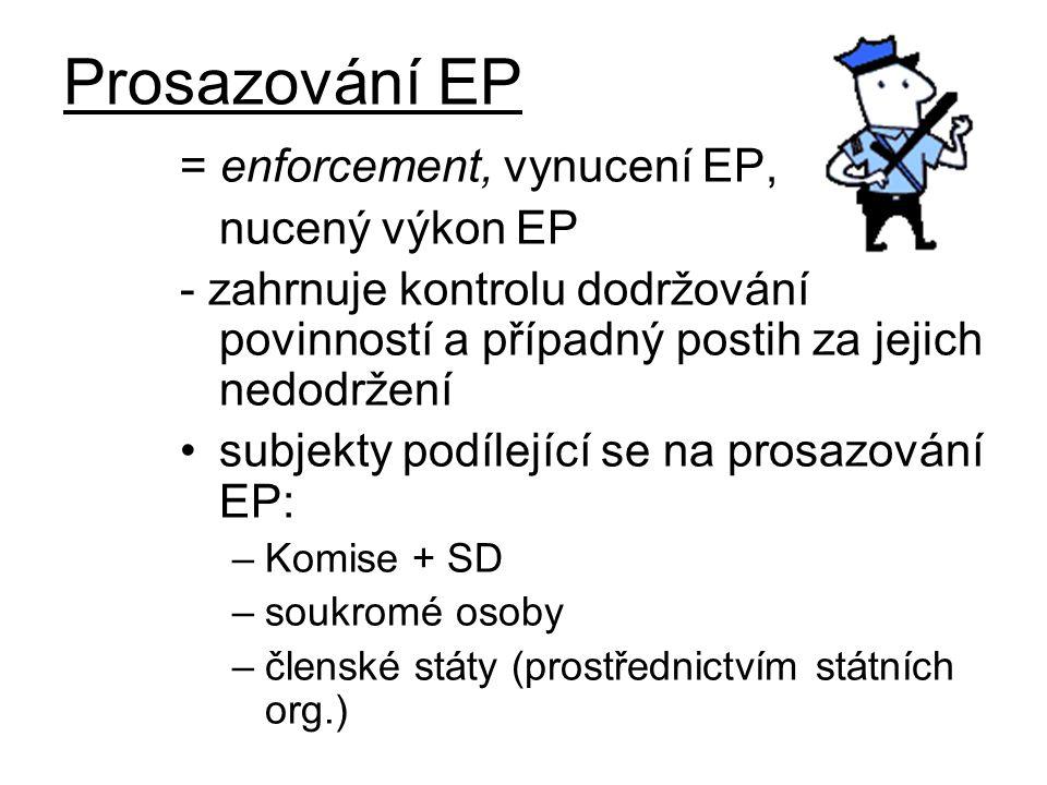 Prosazování EP = enforcement, vynucení EP, nucený výkon EP - zahrnuje kontrolu dodržování povinností a případný postih za jejich nedodržení subjekty podílející se na prosazování EP: –Komise + SD –soukromé osoby –členské státy (prostřednictvím státních org.)