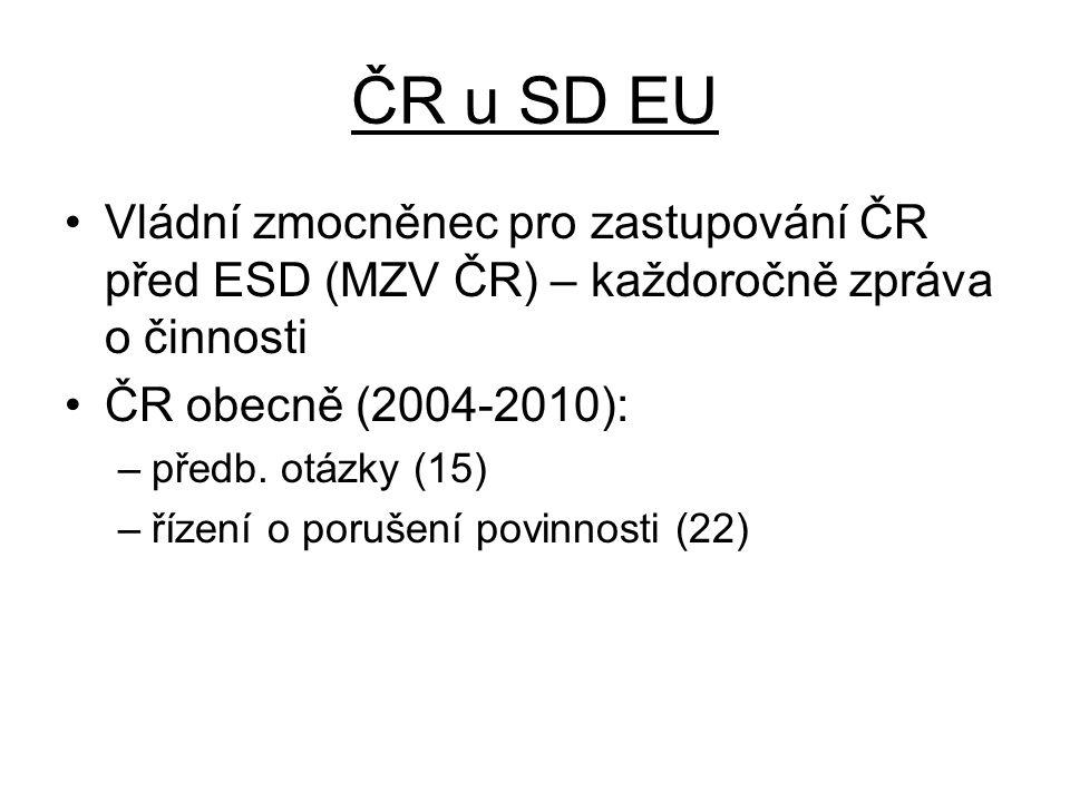 ČR u SD EU Vládní zmocněnec pro zastupování ČR před ESD (MZV ČR) – každoročně zpráva o činnosti ČR obecně (2004-2010): –předb.