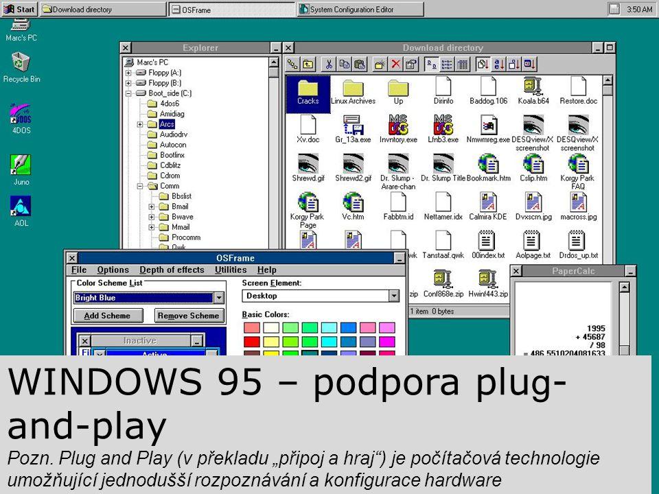 """WINDOWS 95 – podpora plu g - and-play Pozn. Plug and Play (v překladu """"připoj a hraj"""") je počítačová technologie umožňující jednodušší rozpoznávání a"""