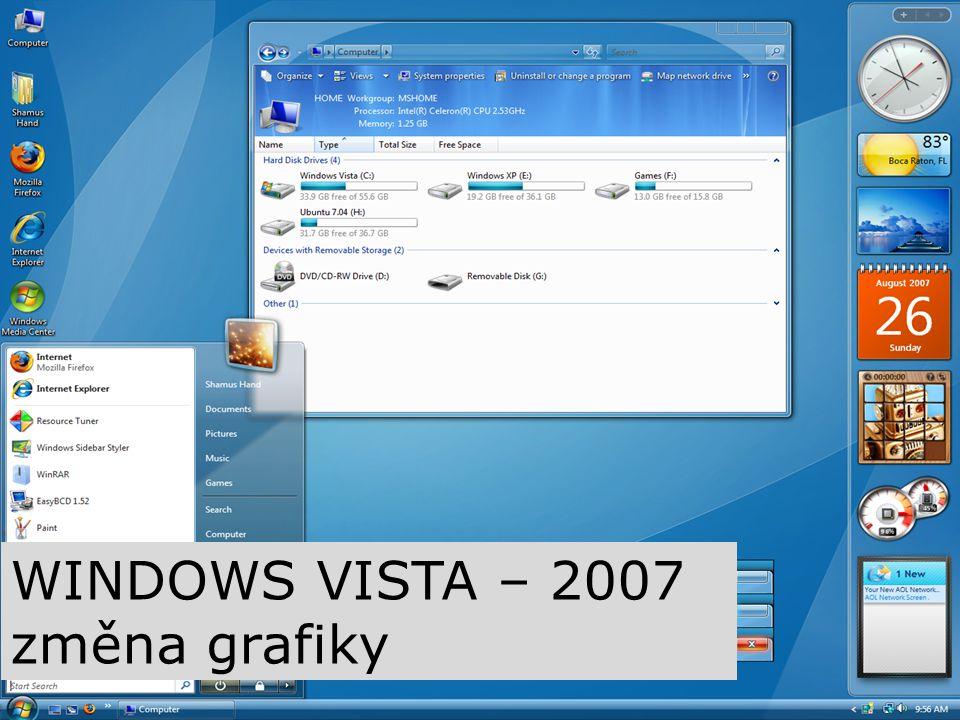 WINDOWS VISTA – 2007 změna grafiky