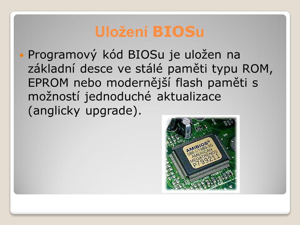Uložení BIOS u Programový kód BIOSu je uložen na základní desce ve stálé paměti typu ROM, EPROM nebo modernější flash paměti s možností jednoduché akt