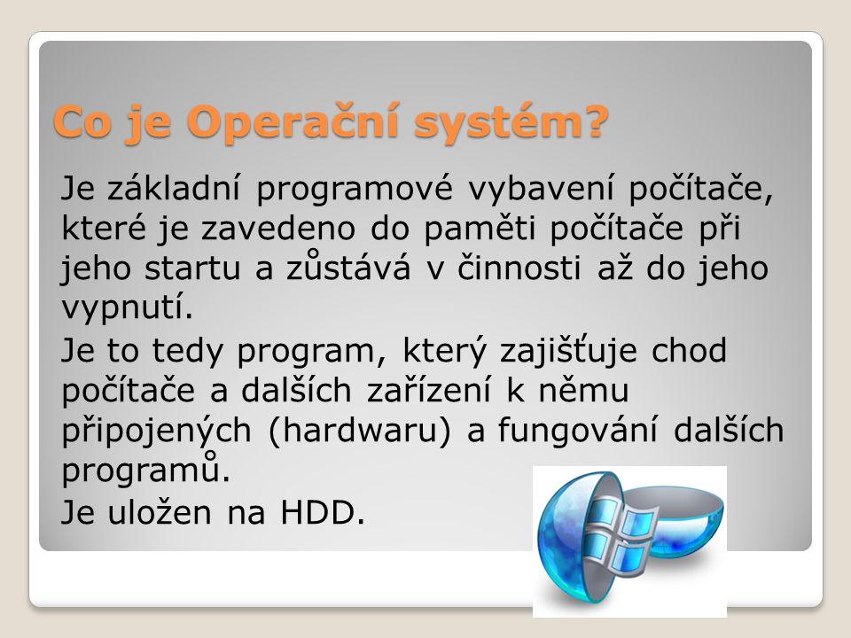 Co je Operační systém? Je základní programové vybavení počítače, které je zavedeno do paměti počítače při jeho startu a zůstává v činnosti až do jeho