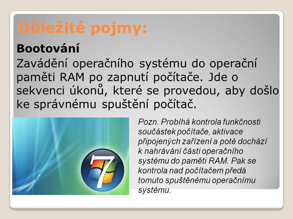 Důležité pojmy: Bootování Zavádění operačního systému do operační paměti RAM po zapnutí počítače. Jde o sekvenci úkonů, které se provedou, aby došlo k
