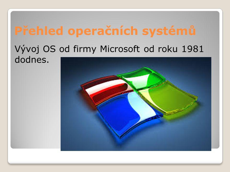 Přehled operačních systémů Vývoj OS od firmy Microsoft od roku 1981 dodnes.