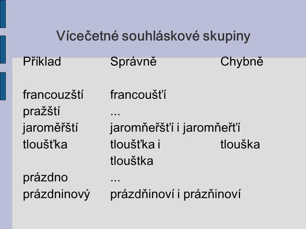 Vícečetné souhláskové skupiny PříkladSprávněChybně francouzštífrancoušťí pražští... jaroměřštíjaromňeřšťí i jaromňeřťí tloušťkatloušťka itlouška tlouš