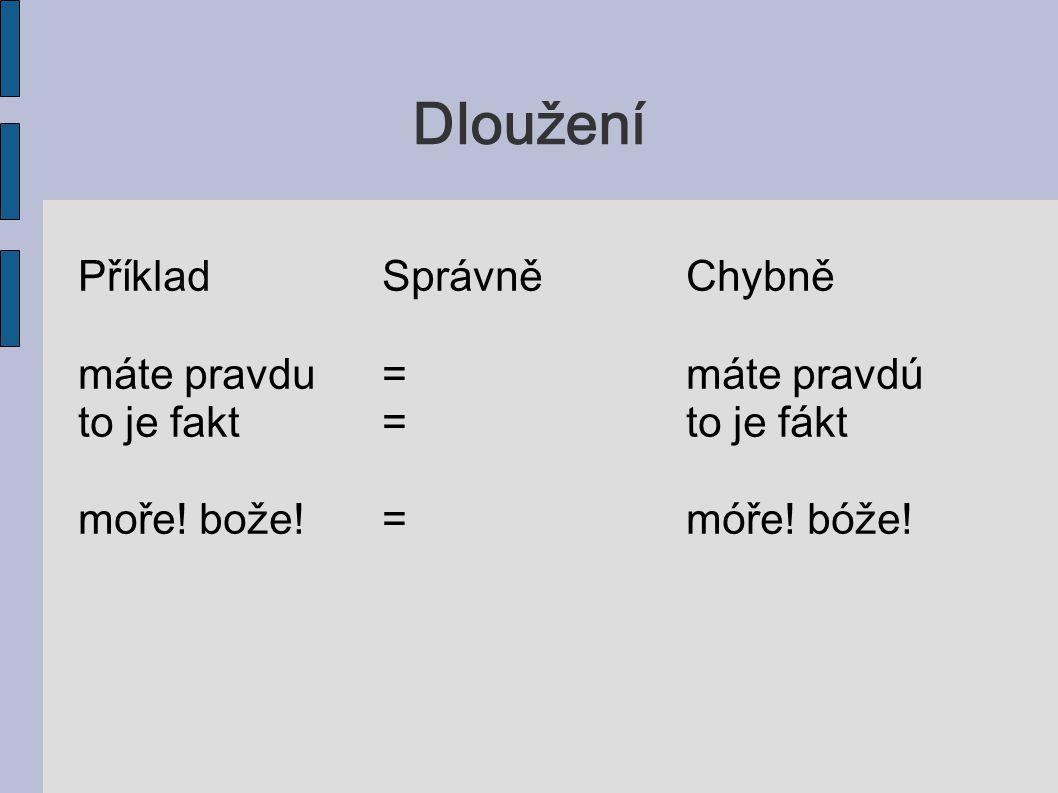 Otevřenost PříkladSprávněChybně viď, pánovi=veť, pánove z Prahy=s prahe prosím=prasem kdo, co=kda, ca