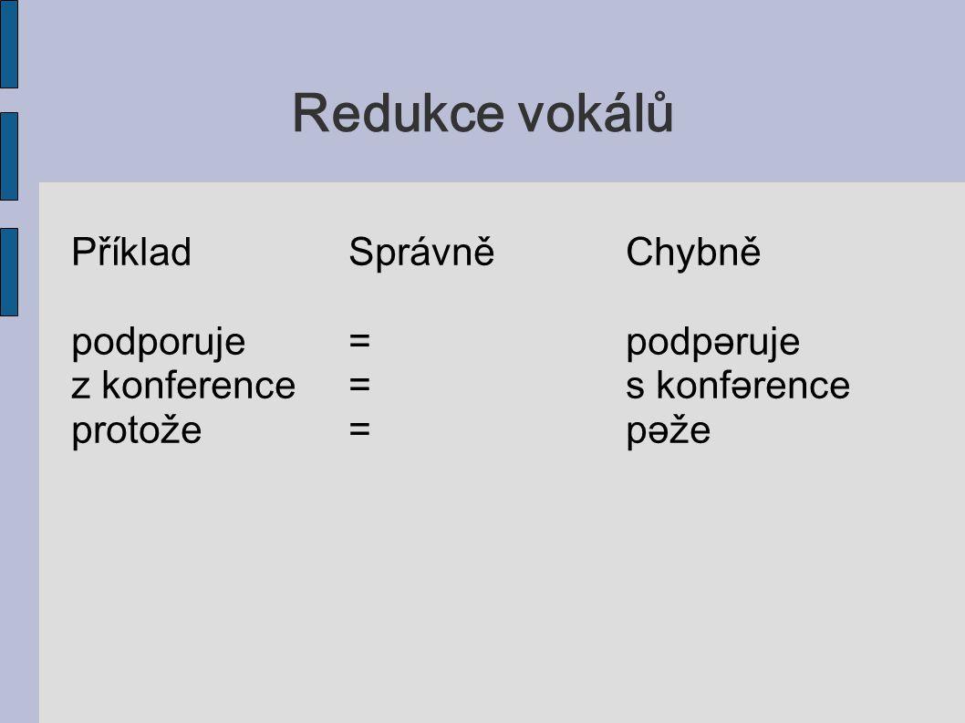 Redukce vokálů PříkladSprávněChybně podporuje=podpǝruje z konference=s konfǝrence protože=pǝže