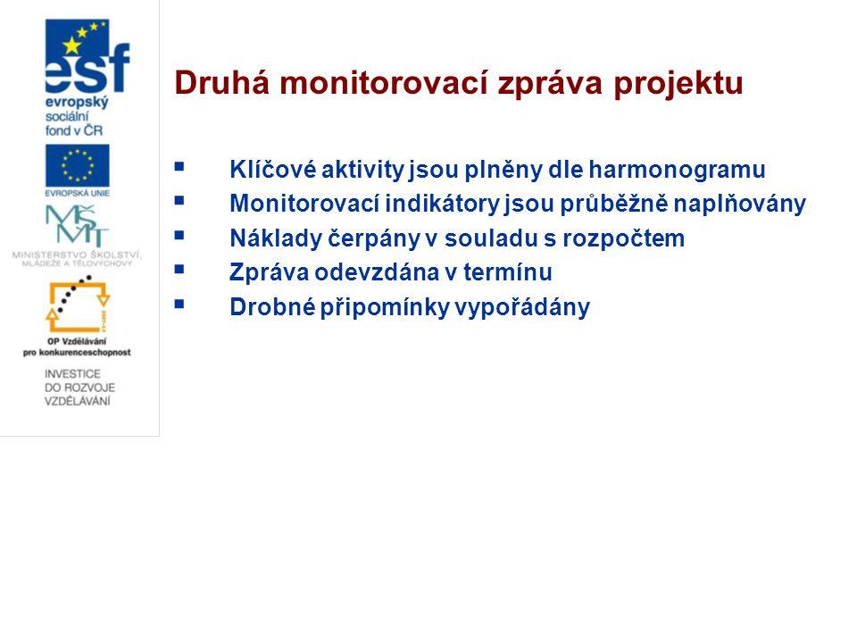 Druhá monitorovací zpráva projektu  Klíčové aktivity jsou plněny dle harmonogramu  Monitorovací indikátory jsou průběžně naplňovány  Náklady čerpán
