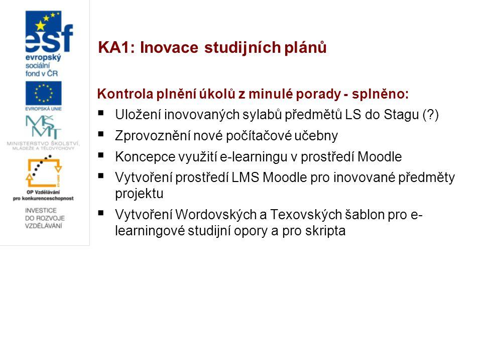 KA1: Inovace studijních plánů Kontrola plnění úkolů z minulé porady - splněno:  Uložení inovovaných sylabů předmětů LS do Stagu (?)  Zprovoznění nov