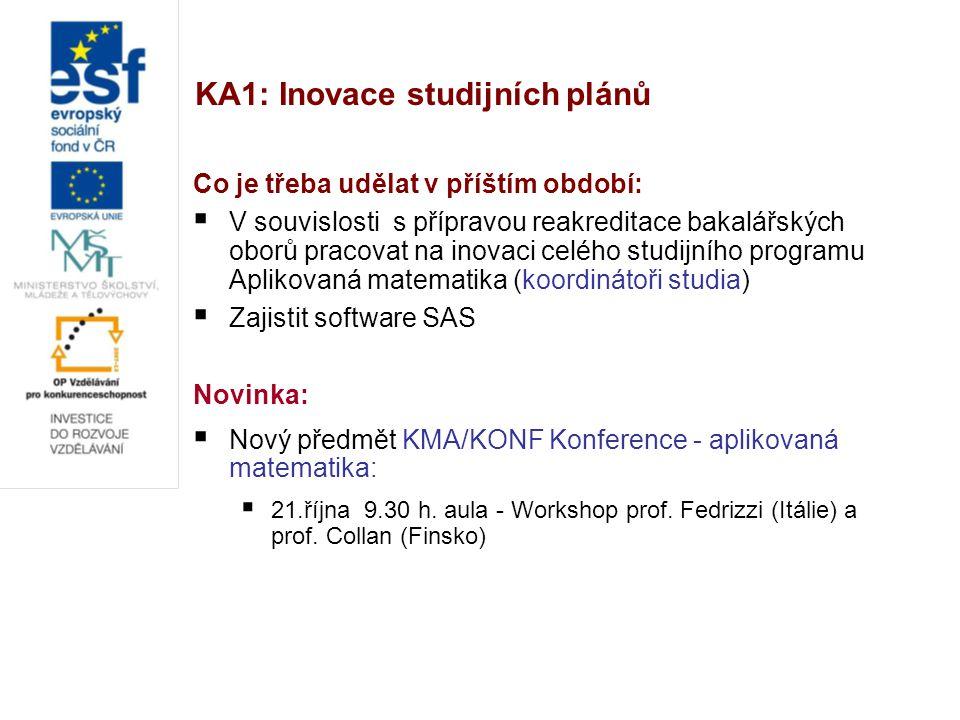 KA1: Inovace studijních plánů Co je třeba udělat v příštím období:  V souvislosti s přípravou reakreditace bakalářských oborů pracovat na inovaci cel