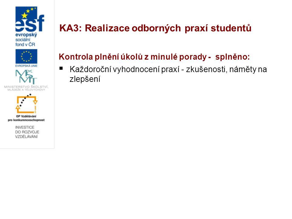 KA3: Realizace odborných praxí studentů Kontrola plnění úkolů z minulé porady - splněno:  Každoroční vyhodnocení praxí - zkušenosti, náměty na zlepše