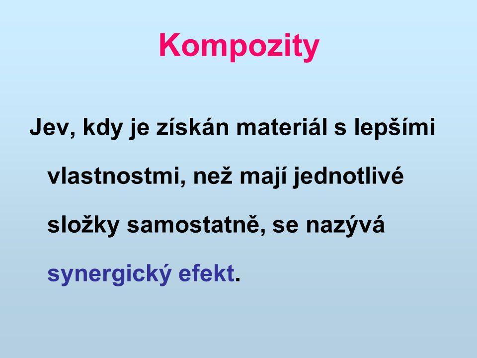 Kompozity Jev, kdy je získán materiál s lepšími vlastnostmi, než mají jednotlivé složky samostatně, se nazývá synergický efekt.