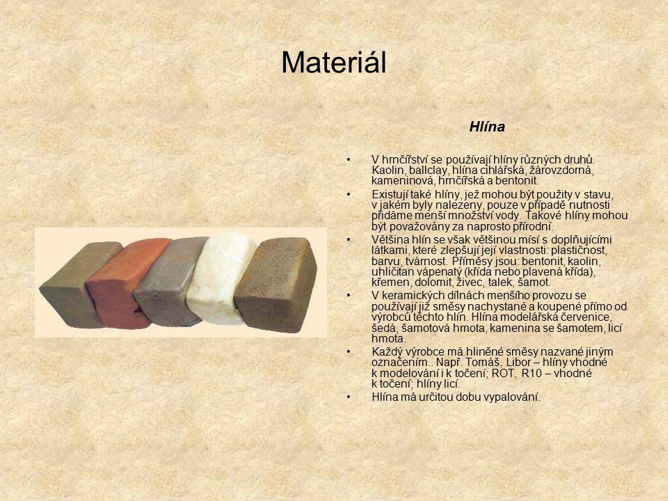 Materiál Hlína V hrnčířství se používají hlíny různých druhů.