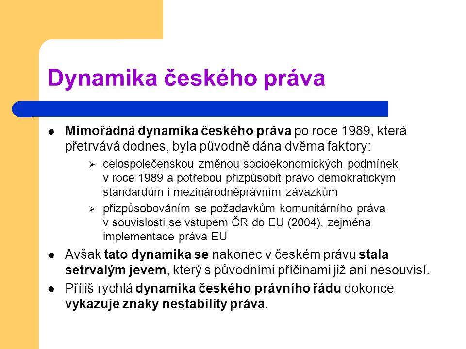 Dynamika českého práva Mimořádná dynamika českého práva po roce 1989, která přetrvává dodnes, byla původně dána dvěma faktory:  celospolečenskou změn