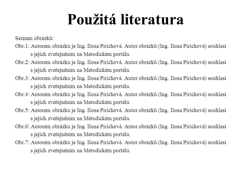 Použitá literatura Seznam obrázků: Obr.1: Autorem obrázku je Ing. Ilona Pirichová. Autor obrázků (Ing. Ilona Pirichová) souhlasí s jejich zveřejněním
