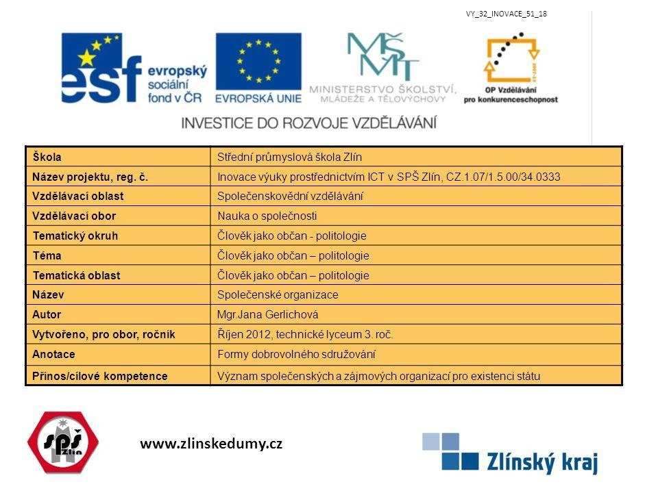 www.zlinskedumy.cz VY_32_INOVACE_51_18 ŠkolaStřední průmyslová škola Zlín Název projektu, reg.