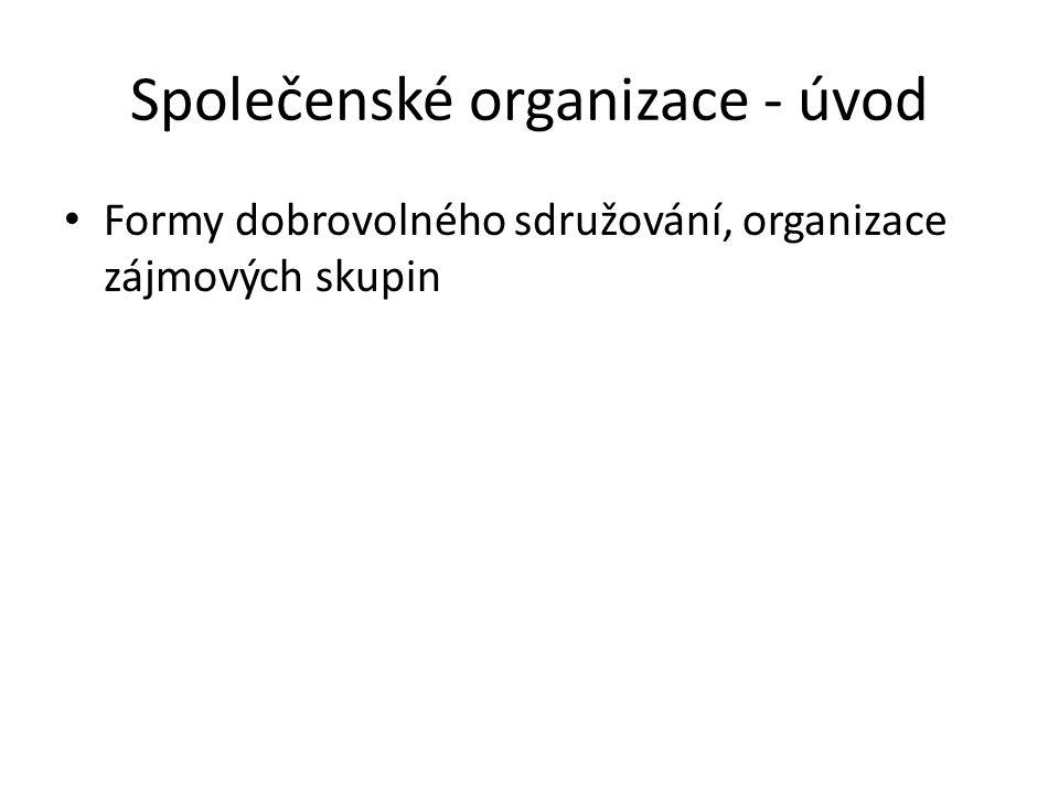 Společenské organizace - úvod Formy dobrovolného sdružování, organizace zájmových skupin