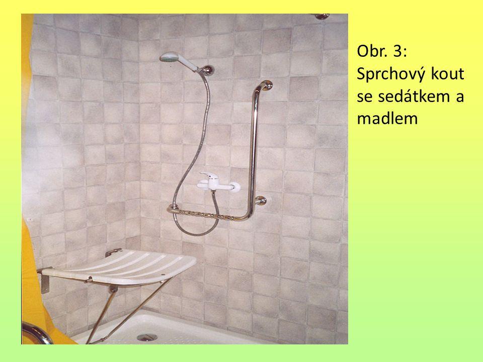 Obr. 3: Sprchový kout se sedátkem a madlem