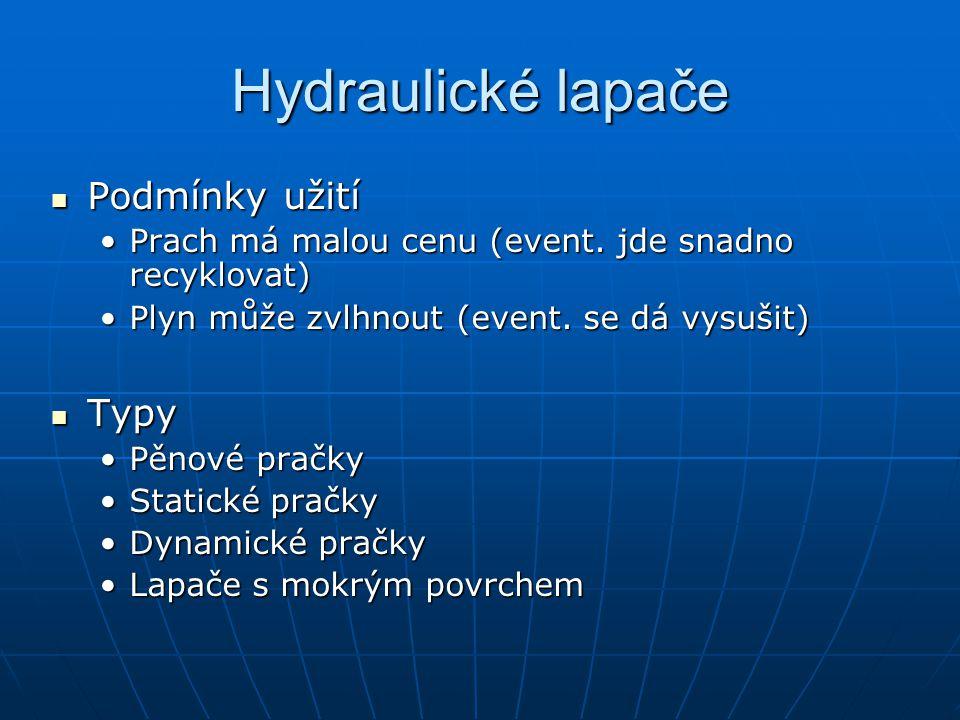 Hydraulické lapače Podmínky užití Podmínky užití Prach má malou cenu (event.