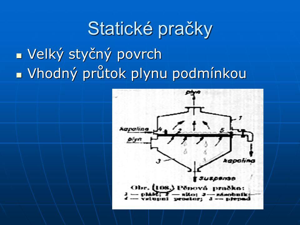 Statické pračky Velký styčný povrch Velký styčný povrch Vhodný průtok plynu podmínkou Vhodný průtok plynu podmínkou