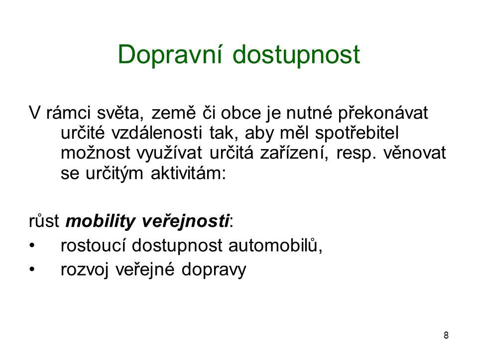 8 Dopravní dostupnost V rámci světa, země či obce je nutné překonávat určité vzdálenosti tak, aby měl spotřebitel možnost využívat určitá zařízení, re
