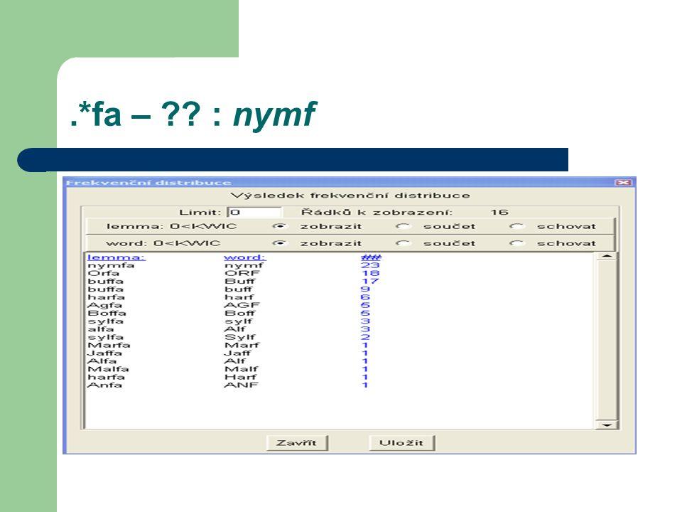 .*fa – : nymf