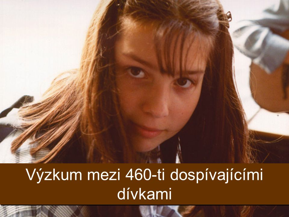 Výzkum mezi 460-ti dospívajícími dívkami