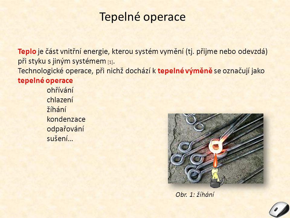 Tepelné operace Teplo je část vnitřní energie, kterou systém vymění (tj. přijme nebo odevzdá) při styku s jiným systémem [1]. Technologické operace, p