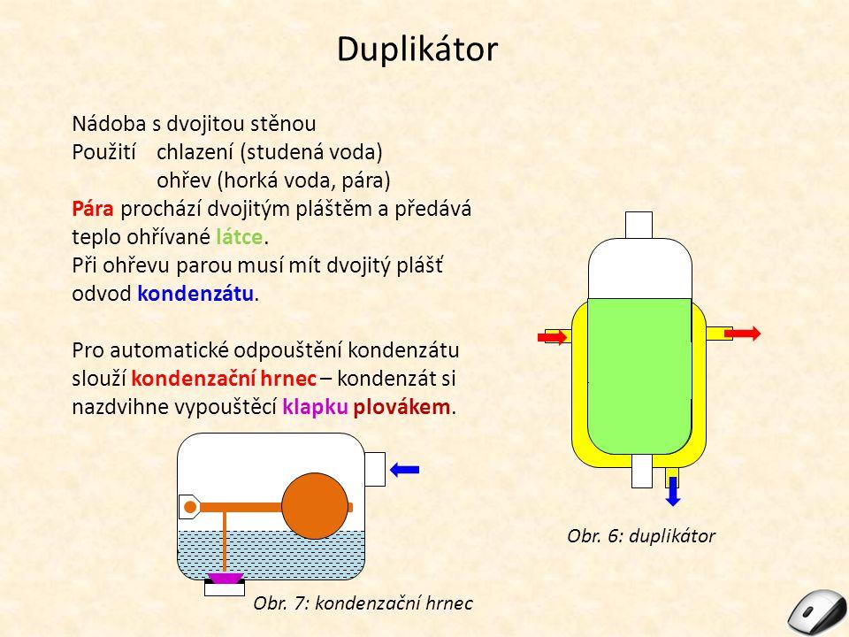 Duplikátor Nádoba s dvojitou stěnou Použitíchlazení (studená voda) ohřev (horká voda, pára) Pára prochází dvojitým pláštěm a předává teplo ohřívané látce.
