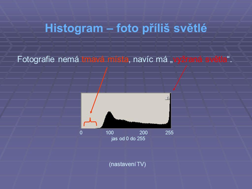 """Histogram – foto příliš světlé Fotografie nemá tmavá místa, navíc má """"vyžraná světla ."""