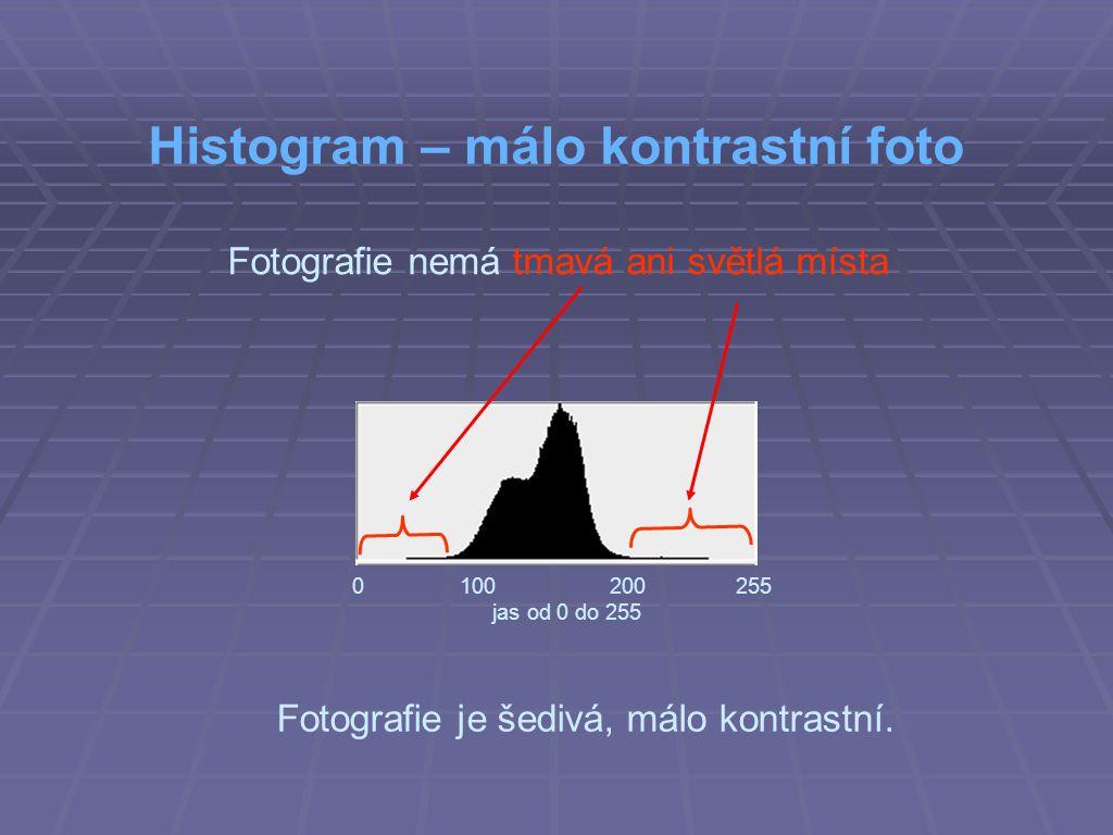 Fotografie nemá tmavá ani světlá místa Histogram – málo kontrastní foto 0 100 200 255 jas od 0 do 255 Fotografie je šedivá, málo kontrastní.