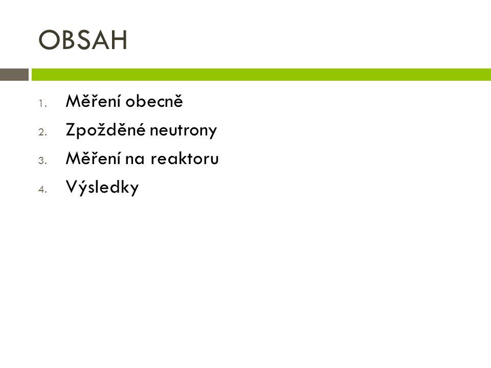 OBSAH 1. Měření obecně 2. Zpožděné neutrony 3. Měření na reaktoru 4. Výsledky