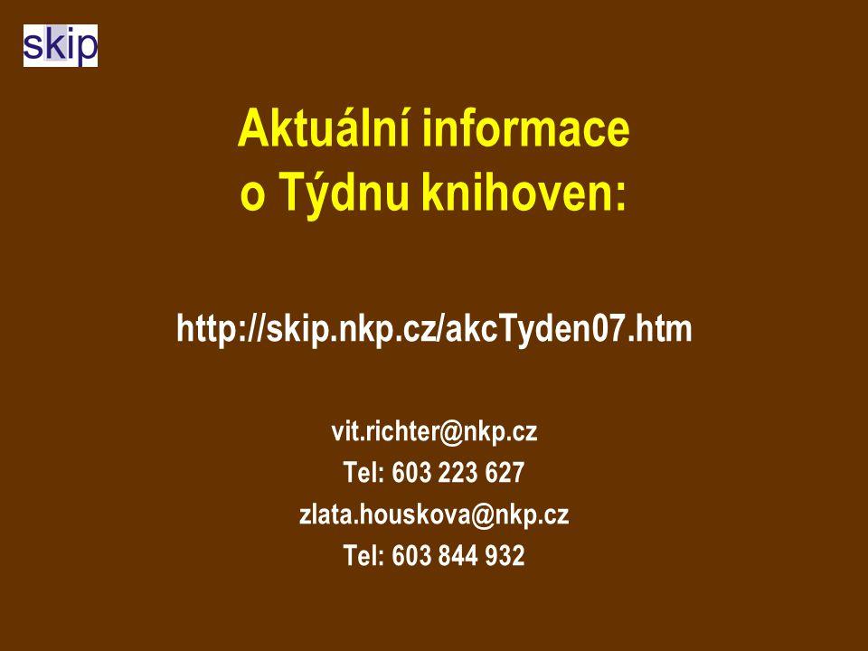 Aktuální informace o Týdnu knihoven: http://skip.nkp.cz/akcTyden07.htm vit.richter@nkp.cz Tel: 603 223 627 zlata.houskova@nkp.cz Tel: 603 844 932