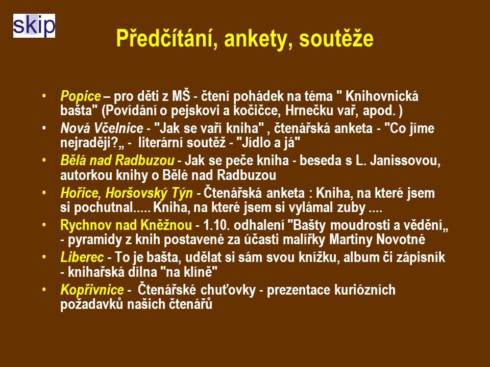 Předčítání, ankety, soutěže Popice – pro děti z MŠ - čtení pohádek na téma Knihovnická bašta (Povídání o pejskovi a kočičce, Hrnečku vař, apod.