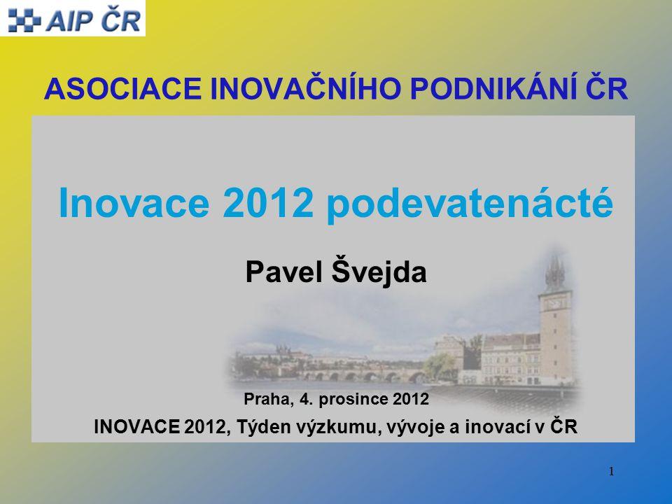 1 ASOCIACE INOVAČNÍHO PODNIKÁNÍ ČR Inovace 2012 podevatenácté Pavel Švejda Praha, 4.