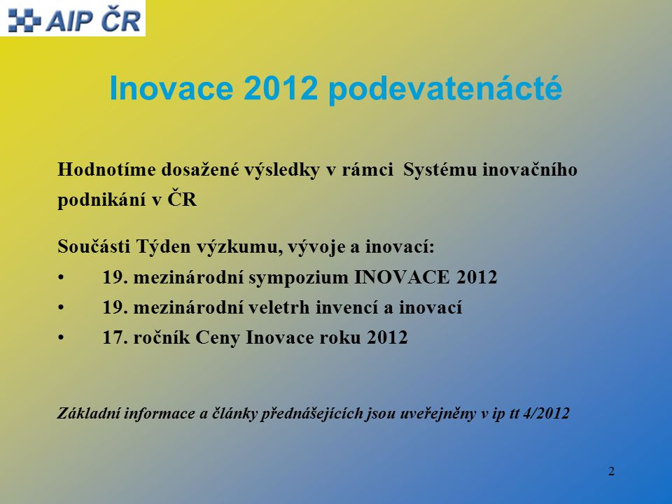 2 Inovace 2012 podevatenácté Hodnotíme dosažené výsledky v rámci Systému inovačního podnikání v ČR Součásti Týden výzkumu, vývoje a inovací: 19.