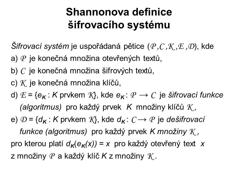 Shannonova definice šifrovacího systému Šifrovací systém je uspořádaná pětice ( P,C,K,E,D ), kde a) P je konečná množina otevřených textů, b) C je kon