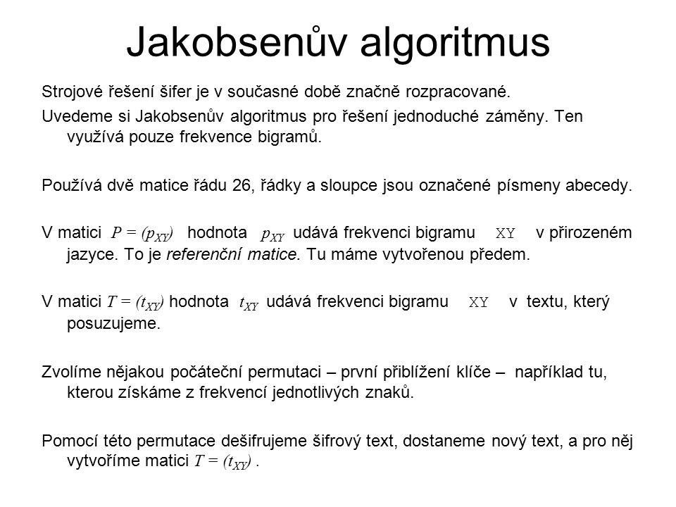 Jakobsenův algoritmus Strojové řešení šifer je v současné době značně rozpracované. Uvedeme si Jakobsenův algoritmus pro řešení jednoduché záměny. Ten