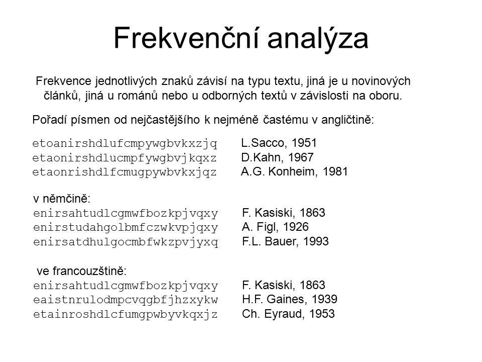 Frekvenční analýza Frekvence jednotlivých znaků závisí na typu textu, jiná je u novinových článků, jiná u románů nebo u odborných textů v závislosti n