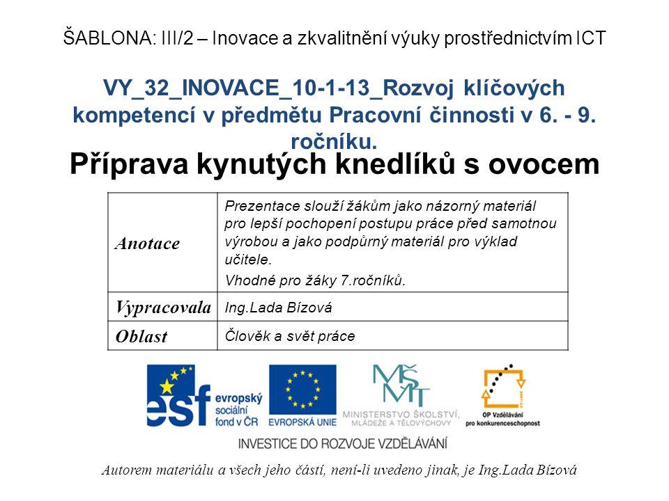 VY_32_INOVACE_10-1-13_Rozvoj klíčových kompetencí v předmětu Pracovní činnosti v 6.