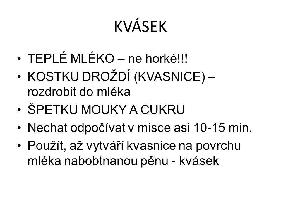 KVÁSEK TEPLÉ MLÉKO – ne horké!!.